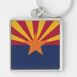 Arizona State Flag Silver-Colored Square Keychain