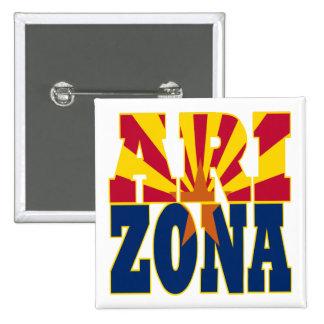 Arizona state flag text pinback button