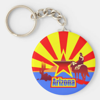 Arizona State Flag Vintage Drawing Basic Round Button Keychain