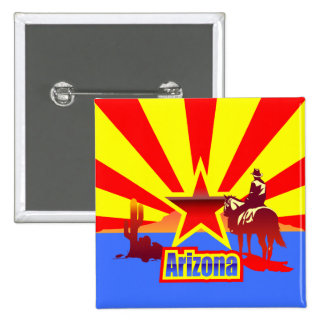 Arizona State Flag Vintage Drawing 2 Inch Square Button