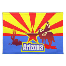 Arizona State Flag Vintage Drawing Cloth Placemat