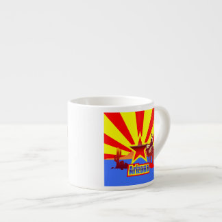 Arizona State Flag Vintage Drawing Espresso Cup