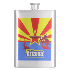 Arizona State Flag Vintage Drawing Flask