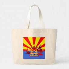 Arizona State Flag Vintage Drawing Large Tote Bag