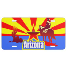 Arizona State Flag Vintage Drawing License Plate