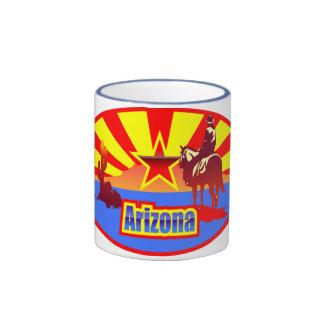 Arizona State Flag Vintage Drawing Ringer Coffee Mug
