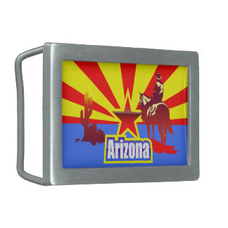 Arizona State Flag Vintage Drawing Rectangular Belt Buckles