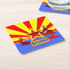 Arizona State Flag Vintage Drawing Square Paper Coaster