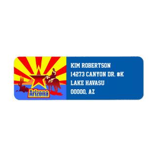 Arizona State Flag Vintage Illustration Label