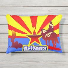 Arizona State Flag Vintage Illustration Outdoor Pillow