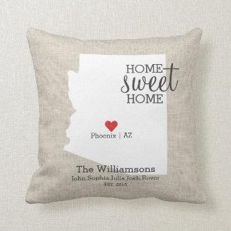 Arizona State Love Home Sweet Home Custom Map Throw Pillow