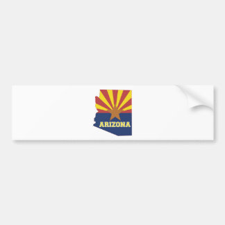 Arizona State Map and Flag Bumper Sticker