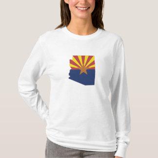 Arizona State Map and Flag Ladies long sleeve T-Shirt