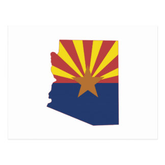 Arizona State Map and Flag Postcard