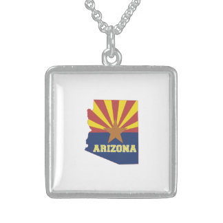 Arizona State Map and Flag Sterling Silver Necklace