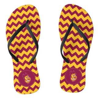 Arizona State Sparky | Chevron Pattern Flip Flops