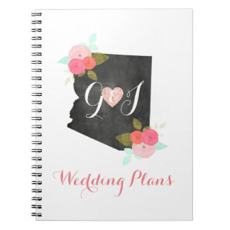 Arizona State Watercolor Floral Wedding Planner Notebook