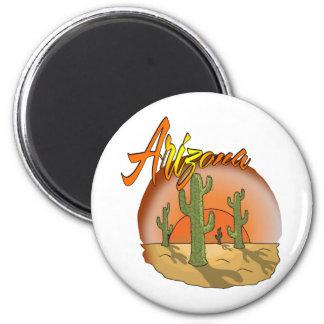 ARIZONA Sunset Cactus 2 Inch Round Magnet