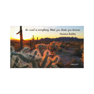 Arizona Sunset in Sonoran Desert with Cactus Canvas Print