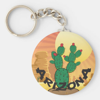 ARIZONA Sunset Prickly Pear Cactus Keychain