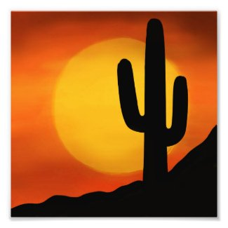Arizona Sunset with Cactus on the Horizon Digital Photo Print