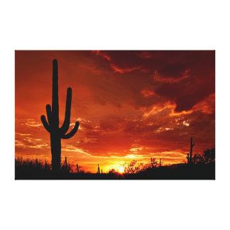 Arizona Sunset with Cactus - Premium Canvas Canvas Print