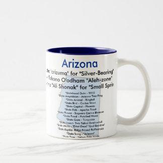 Arizona Symbols and Map Coffee Mugs