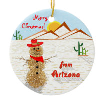 Arizona Tumbleweed Christmas Ceramic Ornament