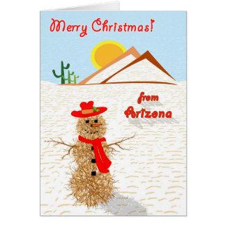 Arizona Tumbleweed Snowman Christmas Card