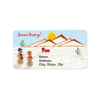 Arizona Tumbleweed Snowman Christmas Address Label