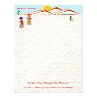 Arizona Tumbleweed Snowman Christmas Letterhead Template