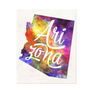 Arizona U.S. State in watercolor text cut out Canvas Print