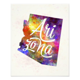 Arizona US State in watercolor text cut out FAA.jp Cojinete