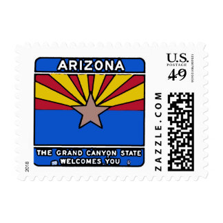 Arizona welcome sign postage stamps
