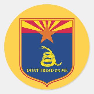 Arizona y escudo de la bandera de Gadsden Pegatina Redonda