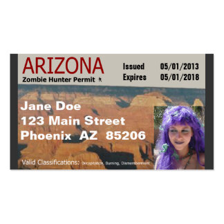 Arizona Zombie Hunter Permit Double-Sided Standard Business Cards (Pack Of 100)