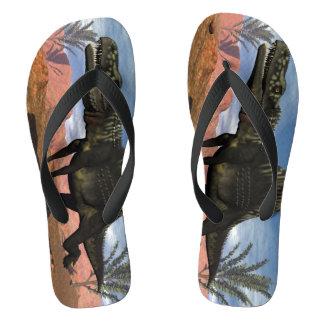 Arizonasaurus dinosaur in the desert flip flops