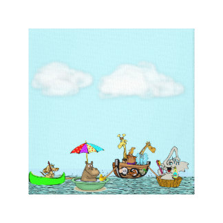 Ark  with Funny Animals on Wrapped Canvas