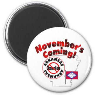 Arkansas Anti ObamaCare – November's Coming! 2 Inch Round Magnet