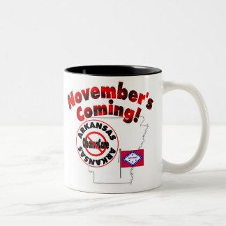 Arkansas Anti ObamaCare – November's Coming! Two-Tone Coffee Mug