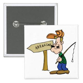 Arkansas AR Fisherman Vintage Travel Souvenir Pinback Buttons