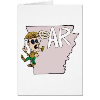 Arkansas AR Map & Douglas MacArthur Cartoon Cards