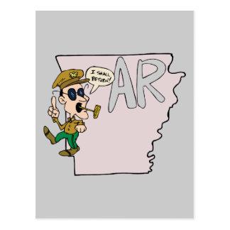 Arkansas AR Map Douglas MacArthur Cartoon Postcard