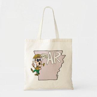 Arkansas AR Map & Douglas MacArthur Cartoon Tote Bag