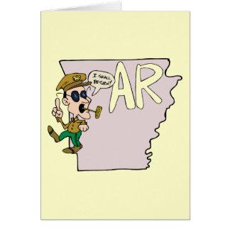 Arkansas AR traza y dibujo animado de Douglas MacA Felicitación