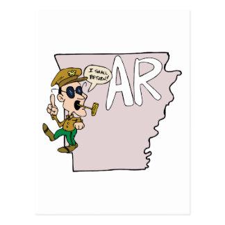 Arkansas AR traza y dibujo animado de Douglas MacA Tarjeta Postal