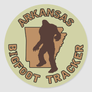 Arkansas Bigfoot Tracker Classic Round Sticker