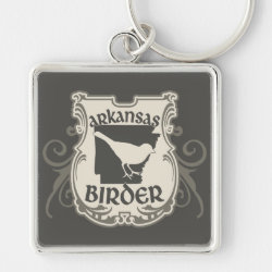 Premium Square Keychain with Arkansas Birder design
