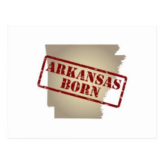 Arkansas Born - Stamp on Map Postcard