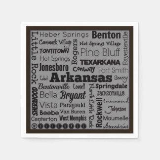 Arkansas cities typography napkins